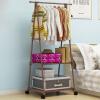 御目 衣架 简易晾衣架衣服架子可移动挂衣架落地式稳固卧室内阳台多功能创意隔板大容量家具