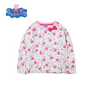 小猪佩奇正版童装女童春装卡通满印长袖圆领套头薄绒卫衣打底衫上衣内搭