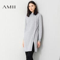 【AMII 超级品牌日】AMII[极简主义]冬新品纯色立领风琴褶衩短款连衣裙女11683218