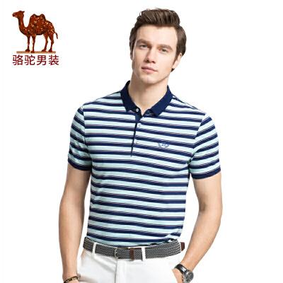 骆驼男装 夏季新款时尚韩版花纱商务polo衫条纹男短袖T恤 潮