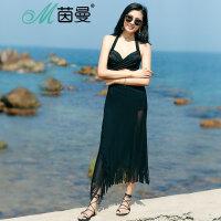 包邮 茵曼内衣 夏季性感纯色带钢托绑带流苏披纱分体平角泳衣9872512301