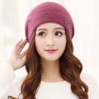 №【2019新款】冬天美女带的帽子女韩版针织毛线帽冬天女士护耳兔毛帽贝雷帽 均码(有弹性)