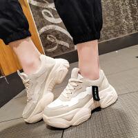 运动鞋2019新款女韩版秋季松糕跟透气网布女运动休闲鞋圆头老爹鞋