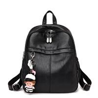 双肩背包女2018新款时尚韩版百搭清新大容量休闲背包 黑色 收藏送挂件