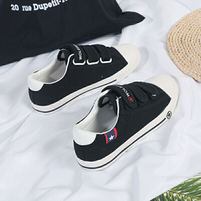 莫戈里2019男士帆布鞋魔术贴男鞋低帮新款白色青少年布鞋粘扣韩版休闲鞋 83黑色