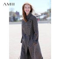 【领券满1000减700】Amii极简英伦风复古阿尔巴卡双面呢外套女2018新过膝羊毛格子大衣