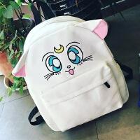 2018新款韩版卡通可爱中学生书包女小学生软妹帆布猫咪原宿风初中双肩包潮 白色