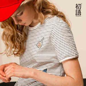 初语夏季新款迪士尼海底总动员纯棉条纹短袖T恤女宽松打底衫女