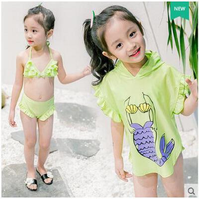 新款儿童泳衣女 大童罩衫游泳衣可爱宝宝比基尼中小童可礼品卡支付 品质保证?售后无忧?支持货到付款