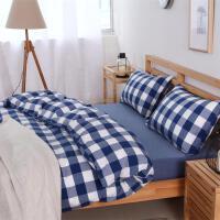 水洗棉四件套纯棉床上用品格子被套全棉床单床笠三件套 乳白色 晚秋格