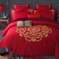 60长绒棉绣花四件套 纯棉欧式简约纯色婚庆套件 床品多件套