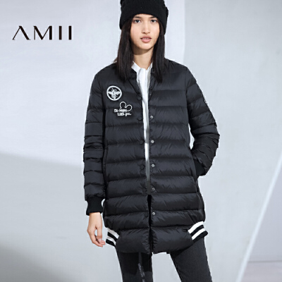 AMII[极简主义]女冬新品绣章拼罗纹中长款羽绒服