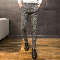 2018冬季新款男裤子格子休闲裤韩版潮流修身小脚加绒加厚九分西