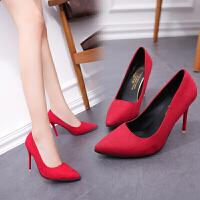 小清新2019新款少女高跟鞋细跟女鞋尖头黑色职业网红工作大东同款单鞋婚鞋 [红色] 10cm