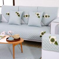 御目 沙发垫 欧式布艺清新简约现代皮沙发坐垫防滑沙发套沙发巾罩四季家用装饰