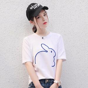 卡茗语纯色刺绣兔子图案T恤 女生短袖宽松简约百搭纯棉上衣 学生半袖潮