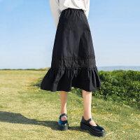 【1件7折 �B券�A估�r135元】茵曼半身裙中�L款女士2021年春季新款文��C花�拼接a字�~尾裙子【1811201】