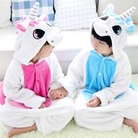儿童连体睡衣独角兽法兰绒卡通动物秋冬季男童女童学生演出服长袖