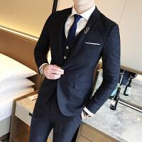 17春秋新款男士潮流时尚西服裤子马甲套装韩版修身青年西装三件套