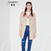 海贝2017秋季新款女装外套 字母印花休闲长袖收腰中长款风衣