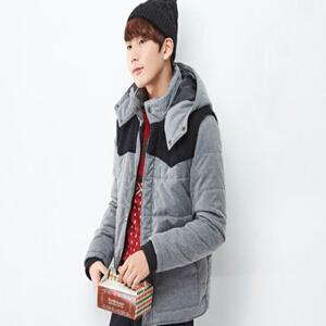 【2件3折价107.7元】唐狮冬装新款男士时尚休闲可拆卸连帽拼接保暖外套韩版潮男装