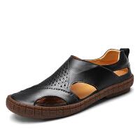 凉鞋男夏季男鞋洞洞鞋真皮镂空包头透气手工男士套脚沙滩鞋凉拖鞋