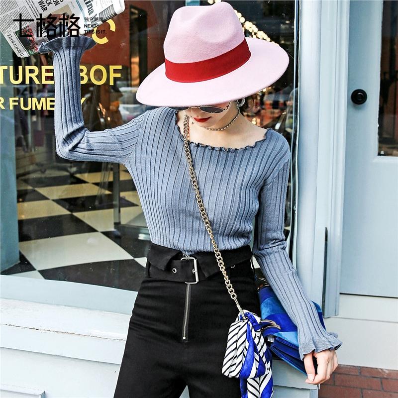 七格格一字领针织衫上衣女秋季新款时尚韩版条纹露肩长袖毛衣