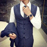 秋冬男装修身马甲裤子套装韩版青年条纹发型师发廊KTV调酒工作服