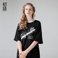 初语 夏季新品 中袖圆领字母印花街头潮流中长T恤女潮