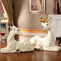 欧式奢华陶瓷鹿摆件一对客厅玄关电视柜家具样板房软装饰品摆设 鹿一对