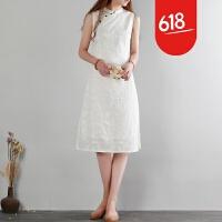 魅儿夏季新款民国学院风无袖连衣裙文艺小清新立领刺绣中长白色旗袍GH124 白色