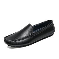 豆豆鞋男真皮懒人鞋白色一脚蹬夏季开车韩版个性百搭软面休闲皮鞋