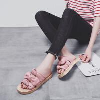 人拖鞋女夏2019新款外穿一字拖韩版平底绒面女士凉鞋时尚百搭松糕厚底沙滩坡跟凉拖鞋