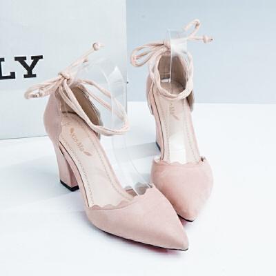 同款2019春季新款韩版百搭尖头高跟鞋粗跟单鞋罗马女鞋蝴蝶结包头凉鞋 粉红色 38