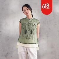 魅儿原创刺绣女装前短后长立领真丝衬衫女短袖桑蚕丝上衣女夏款GH153 橄榄绿