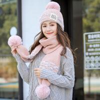 帽子女冬季韩版百搭新款2018女士针织毛线帽围巾一体加绒加厚保暖