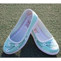 浅口女单鞋古风汉服女鞋子坡跟老北京布鞋梅花工作鞋小白鞋护士鞋