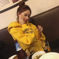 加绒卫衣女2018秋冬季新品宽松bf风加厚中长款韩版上衣外套学生潮
