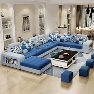 沙发 布艺沙发大小户型可拆洗简约现代客厅家具整装转角U型单人多人双人组合沙发 创意家具