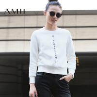 AMII[极简主义]冬新大码休闲棉抓绒罗纹字母印花卫衣11643763