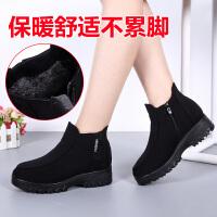 冬季女靴子老北京布鞋女棉鞋防滑保暖短靴加绒职业上班妈妈大码靴