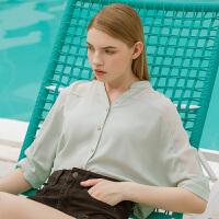 Lagogo/拉谷谷2019年夏季新款时尚女优雅气质衬衫上衣IACC334A22