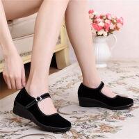 老北京布鞋女鞋中跟单鞋坡跟黑一代工装工作鞋舒适软底防滑红色舞蹈妈妈跳舞鞋