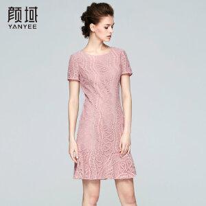 颜域品牌女装2017夏季新款时尚气质收腰修身镂空勾花蕾丝连衣裙