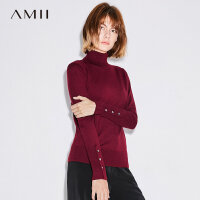 Amii[极简主义]高领毛衣女2017秋装新款修身纯色贝壳扣休闲上衣