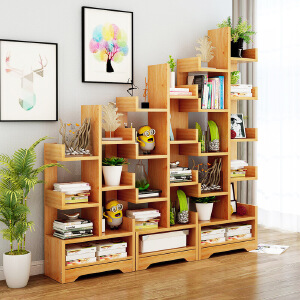 书架 简约家用多层落地创意多功能学生树形置物收纳储物架子客厅现代可储物书柜子简易书橱满额减限时抢家具用品