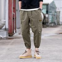 夏款新款多口袋九分裤男个性日系宽松薄款休闲裤束脚哈伦裤