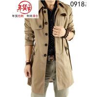男风衣秋冬季中长款修身型连帽加厚加绒加棉外套韩版大衣大码男装