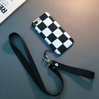 新款格子苹果7plus手机壳iphone8挂绳Xs Max软套XR潮男女6sp潮牌X 6/6s 4.7寸(黑白格子)