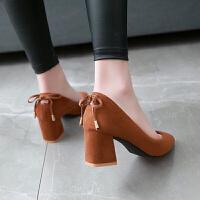 杏色高跟鞋女粗跟2019春季新款优雅尖头浅口绒面黑色气质中跟单鞋